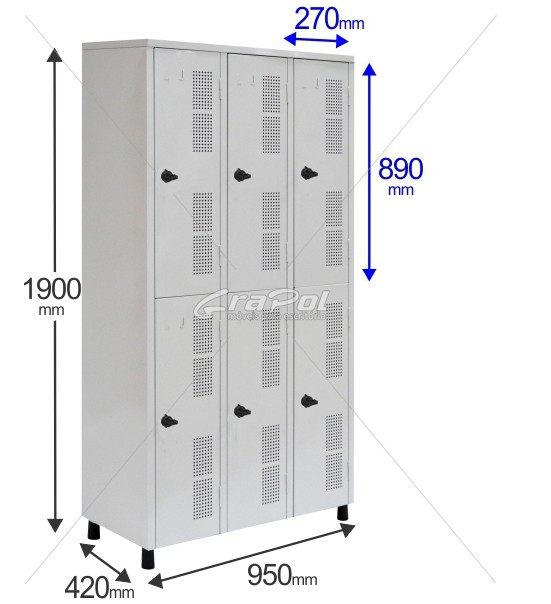 Roupeiro Para Vestiário RGRSP 6 Portas - Com Fecho Porta-Cadeado -  RCH