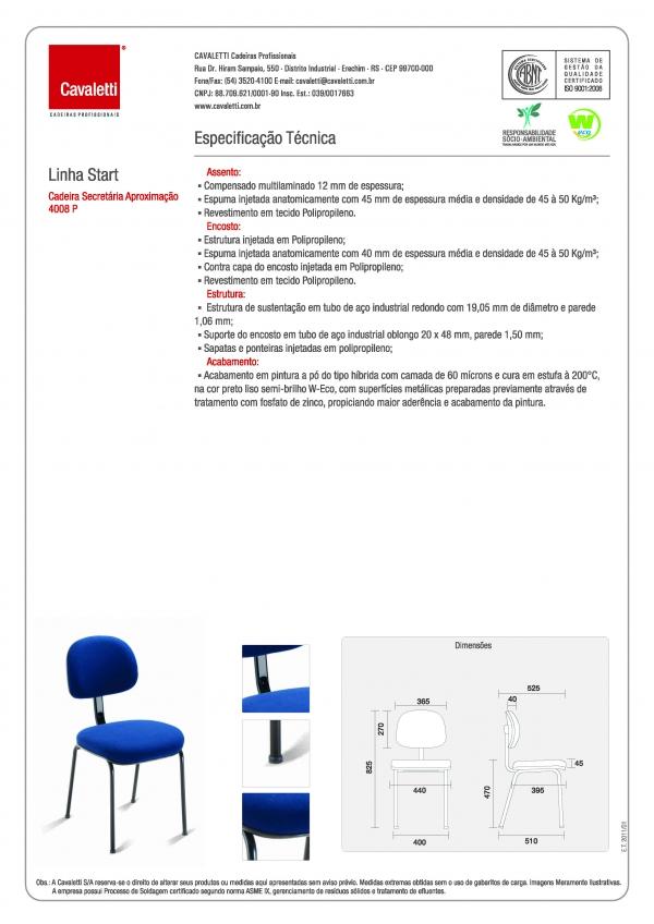 Cadeira para escritório fixa aproximação 4008 P - Linha Start - Cavaletti -