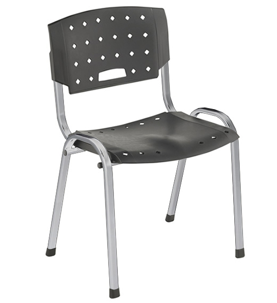 Cadeira Empilhável Plástica - Estrutura Cromada - Assento e Encosto Preto