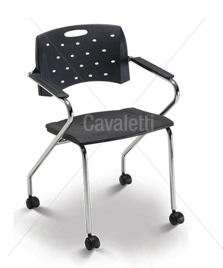 Cadeira para escritório fixa 35007 Z Com rodízios - Estrutura Cromada - Linha Viva - Cavaletti
