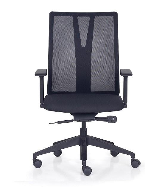 Cadeira Para Escritório Giratória Presidente- Addit Alta  - Mecanismo Evolution (Back System) - Base Piramidal Nylon - Linha Addit - Com Braço - Frisokar