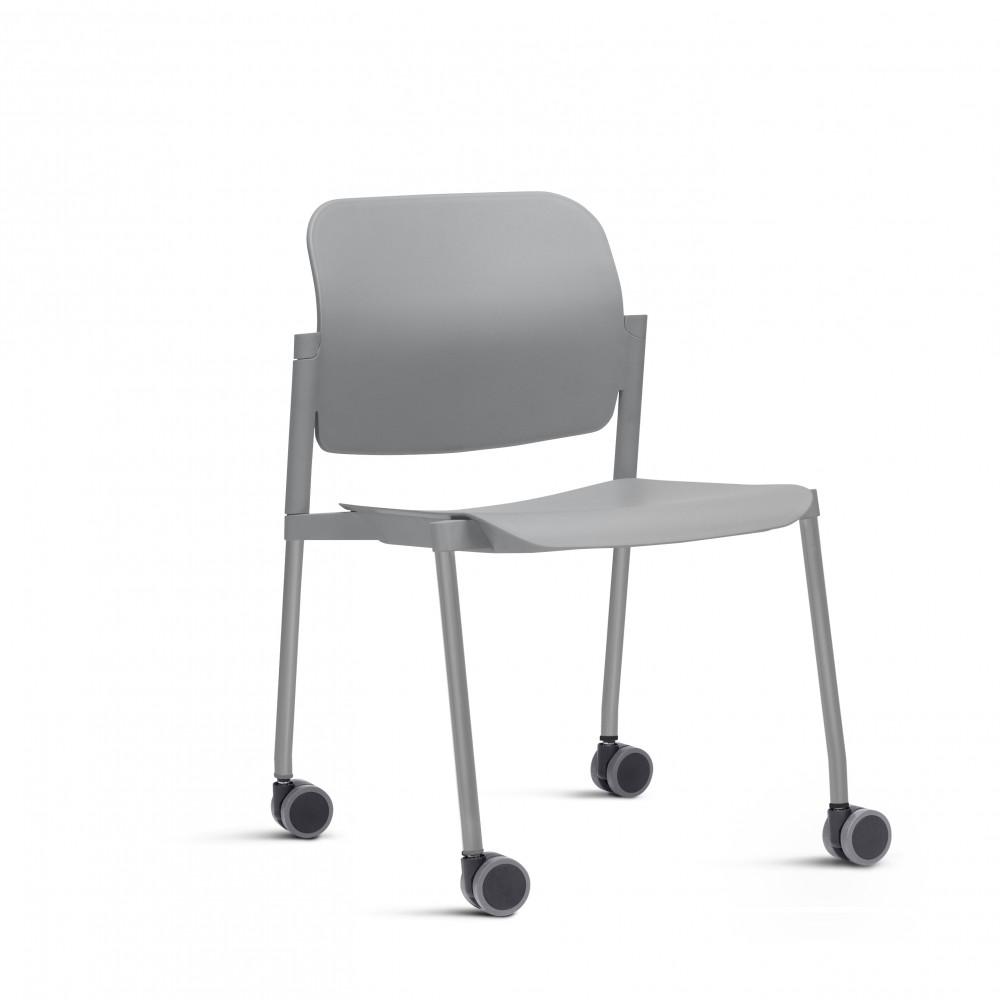 Cadeira em Plástico KLEAF03 -  Com Rodízio - Linha Leaf - Sem Braço - Frisokar