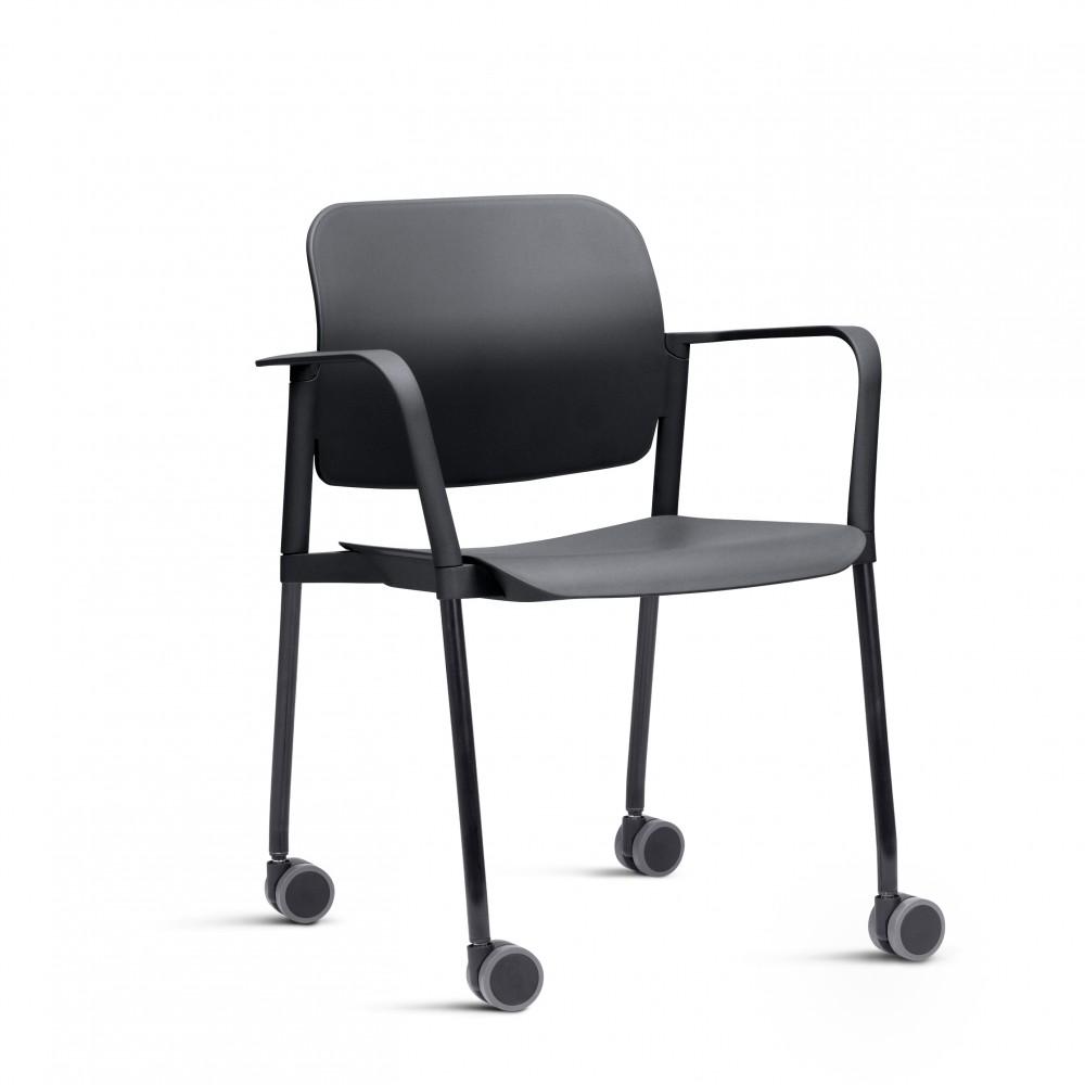 Cadeira em Plástico KLEAF04 -  Com Rodízio - Linha Leaf - Com Braço -  Base Colorida - Frisokar