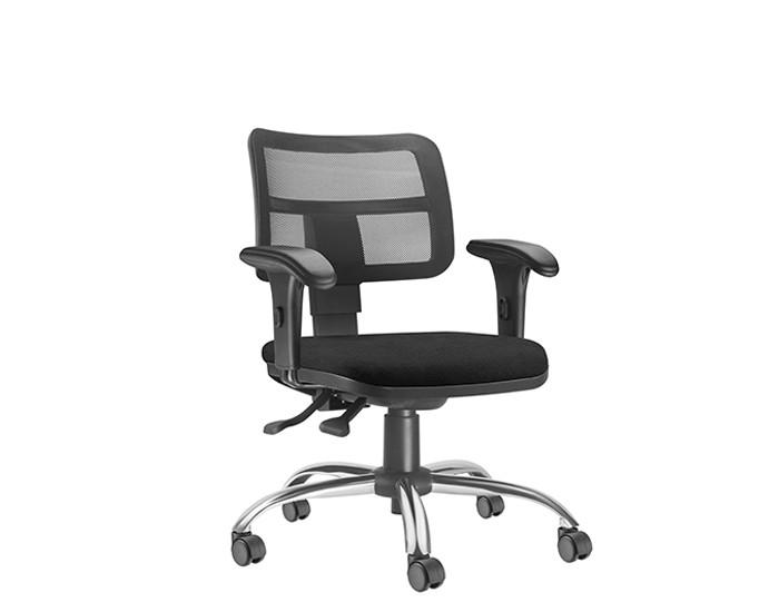Cadeira Para Escritório Diretor Giratória ZIP002 - Mecanismo Evolution - Encosto em Tela - Base Cromada Semiarcada - Linha ZIP - Com Braço PP - Frisokar