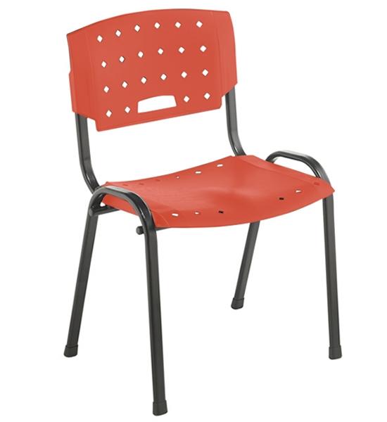 Cadeira Empilhável Plástica - Estrutura Preta - Assento e Encosto Colorido