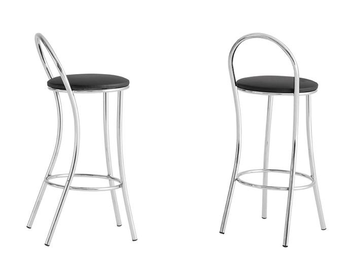 Banqueta Bar 066 - Com Encosto Arco Tubular - 56cm- Assento Estofado