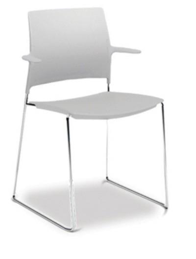 Cadeira para escritório fixa aproximação 34006 arco com braços - Estrutura Cromada - Linha Go - Cavaletti