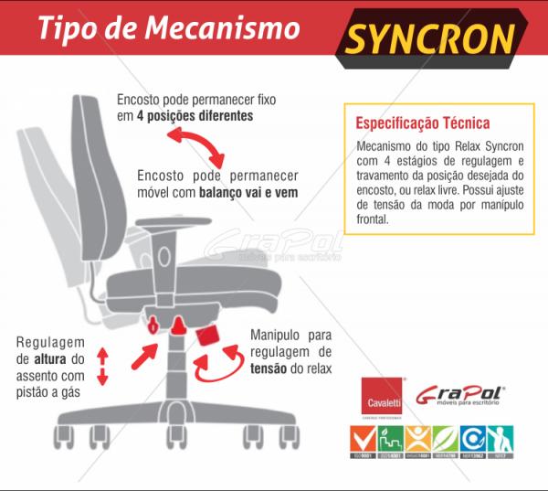 Cadeira para escritório giratória diretor 16002 (LR) - Syncron - Linha NewNet - Braço SL - Cavaletti - Base Polaina -