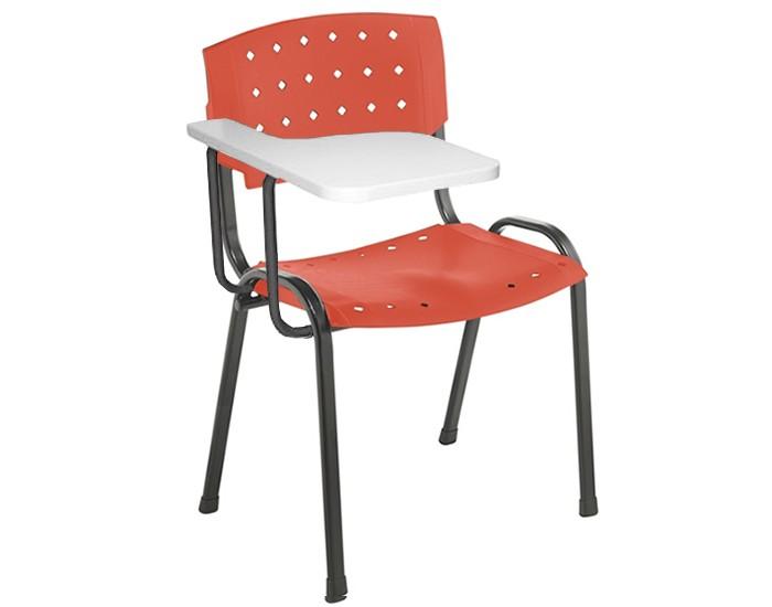 Cadeira Plástica Universitária - Com Prancheta - Estrutura Preta - Assento e Encosto Colorido