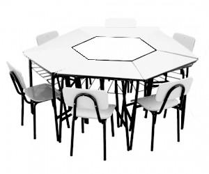 Conjunto de mesas e cadeiras SEXTAVADO ADULTO  Branco ou Bege - Dellus