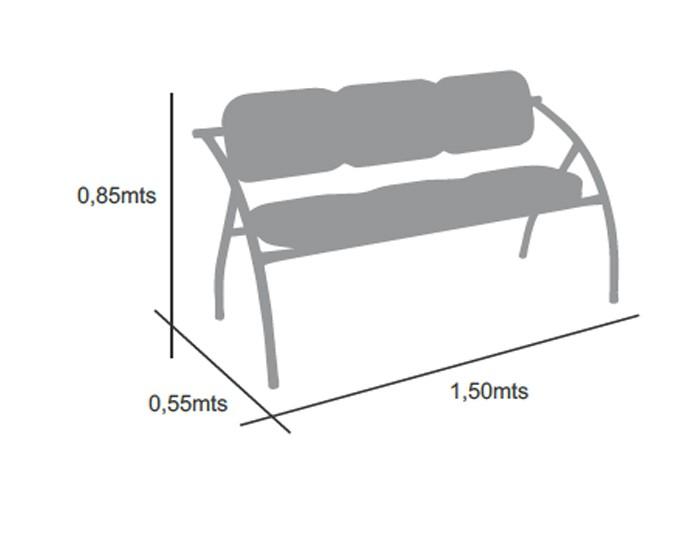 Longarina Donatello - Estrutura Prata - 03 Lugares - Terra Santa Móveis -