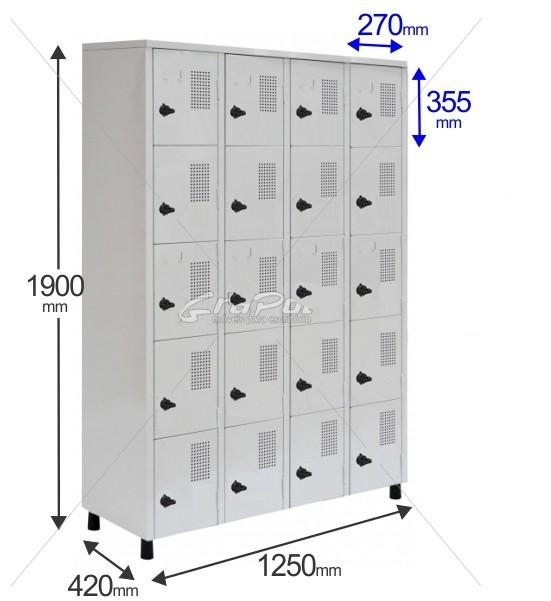 Roupeiro Para Vestiário RGRSP 20 Portas - Com Fecho Porta-Cadeado - RCH