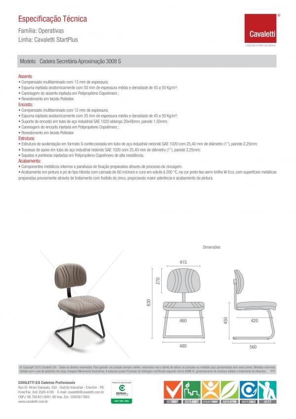 Cadeira para escritório fixa aproximação  3008 S - Linha Start Plus - Cavaletti -