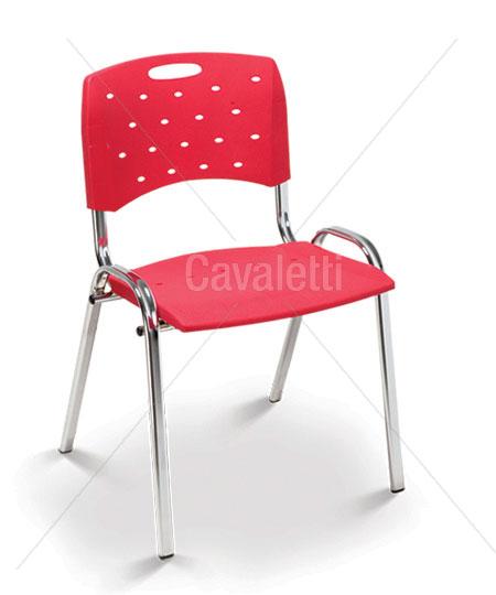 Cadeira para escritório fixa 35008 P Viva - Estrutura Cromada - Linha Viva - Cavaletti