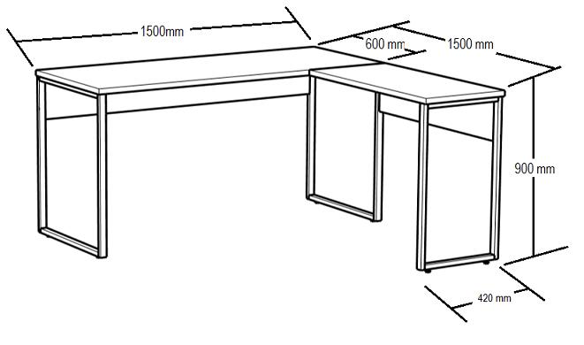 Mesa Angular -  Pé Tubular estilo Goleira - Tampo MDP 25mm - 1500mm x 1500mm x 755mm