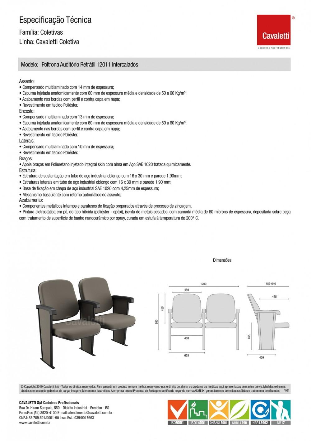 Poltrona Auditório 12011 Retrátil - Braço Intercalado - Sem prancheta -  Linha Coletiva - Cavaletti -