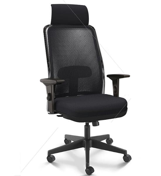 Cadeira para escritório giratória presidente 16001 AC - Syncron - (LR) - Linha NewNet - Braço SL - Cavaletti - Base Nylon