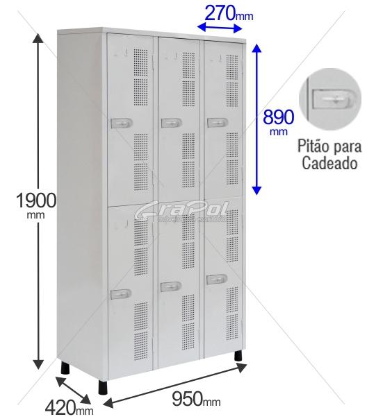 Roupeiro Para Vestiário Vestiário RGRSP 6 Portas - Com Pitão para CADEADO -  RCH