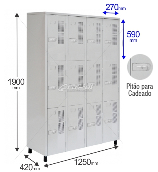 Roupeiro Para Vestiário RGRSP 12 - ESPECIAL PARA CAPACETES DE MOTOS - 12 Portas - Com Pitão para CADEADO - RCH -