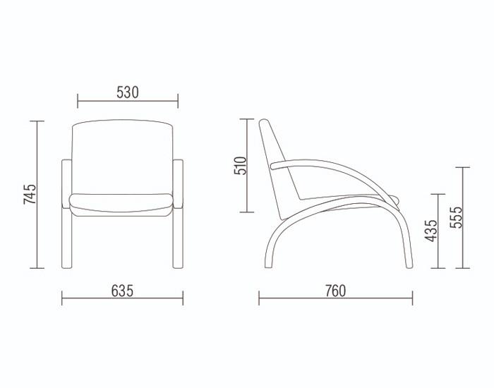 Cadeira Fixa HAR009 - Base Fixa Preta - Com Braço - Linha Harmony Lounge - Frisokar -