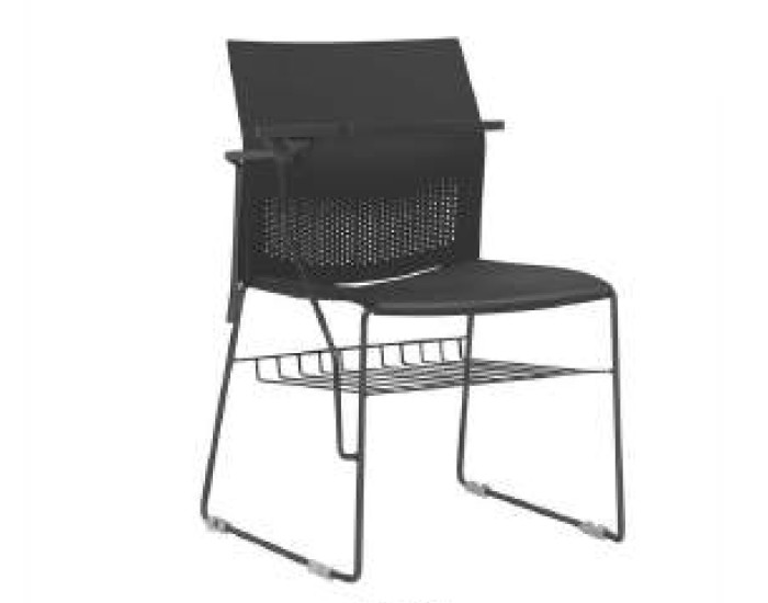 Cadeira Fixa CON011 - Base Fixa Preta - Linha Connect Universitária - Com Gradil - Com Prancheta Escamoteável - Frisokar