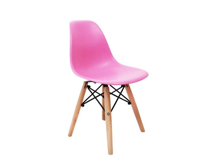 Cadeira Eiffel Eames Kids Polipropileno -  Estrutura de madeira e concha Colorida