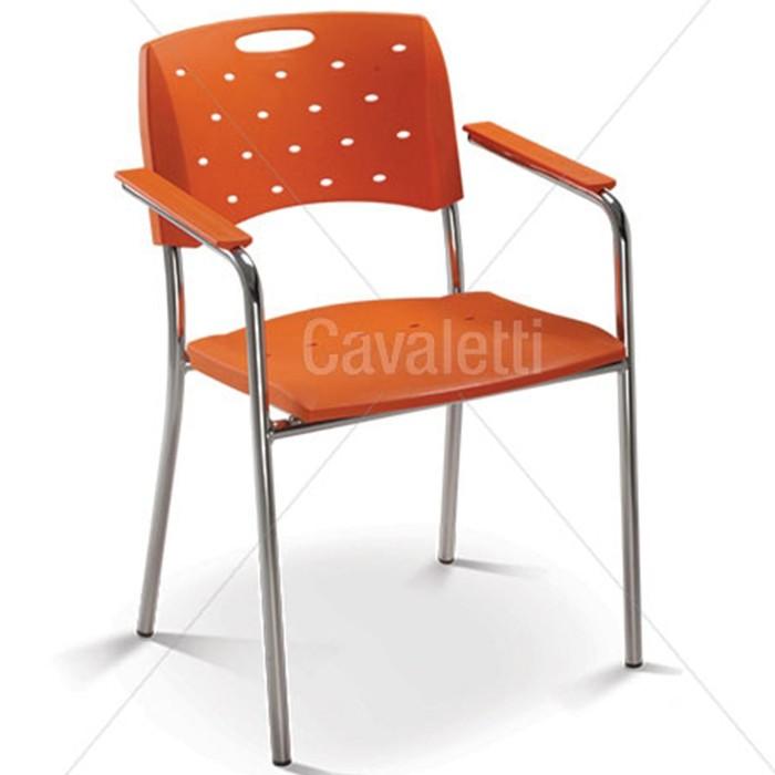 Cadeira para escritório fixa 35007 P - Estrutura Cromada - Linha Viva - Cavaletti