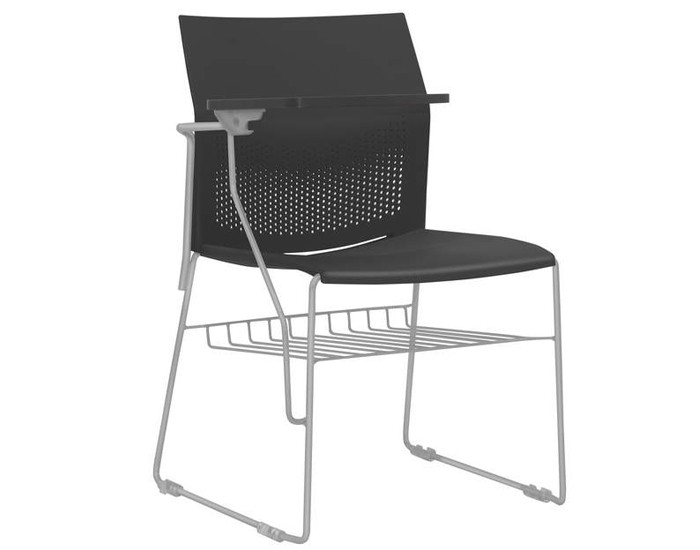 Cadeira Fixa CON074 - Base Fixa Cinza - Linha Connect Universitária - Com Gradil - Com Prancheta Escamoteável - Frisokar