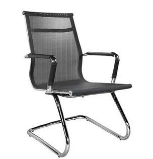 Cadeira para escritório fixa de aproximação - Encosto e Assento em Tela - Base Cromada - Pelegrin