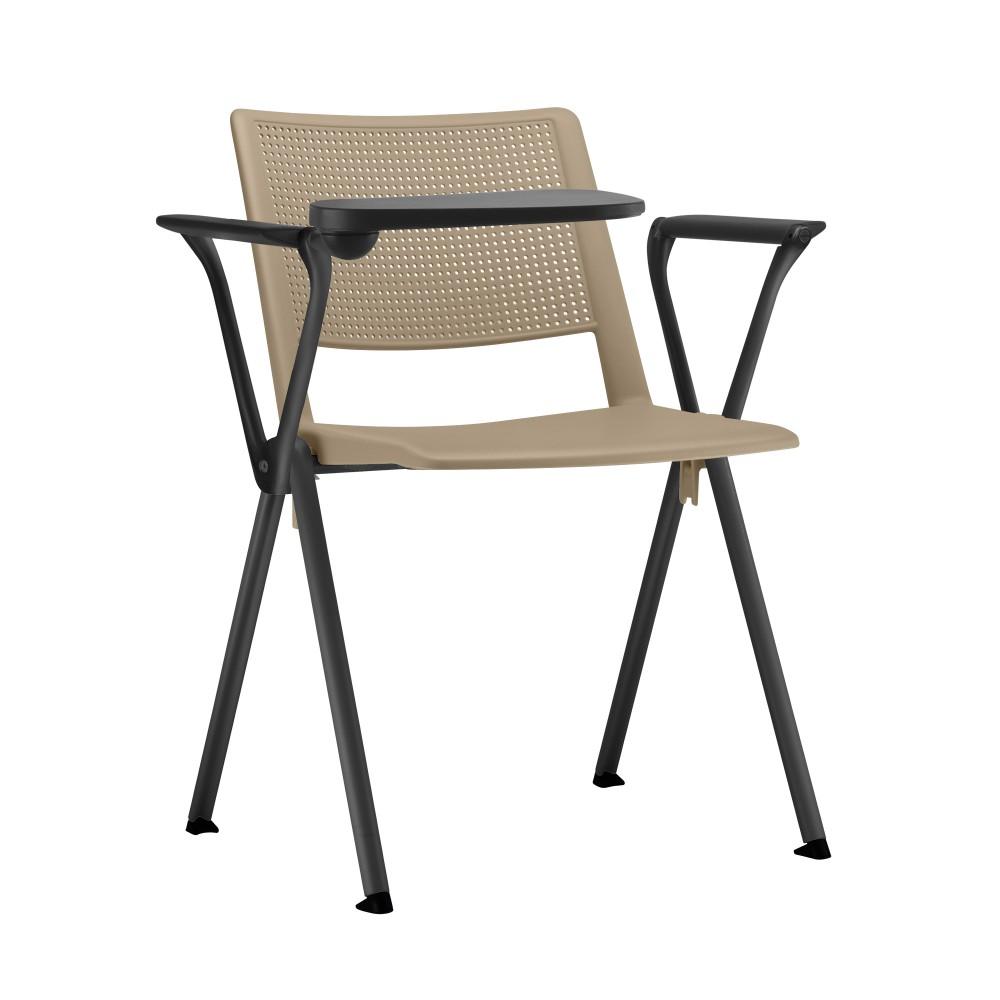 Cadeira Fixa YUP13 - Com Prancheta Escamoteável - Base Fixa Preta - Linha Up Fixa - Com Braço - Frisokar