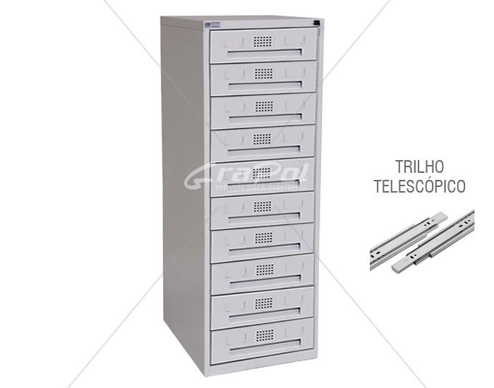 Arquivo de Aço 10 Gavetas para Fichas RAM 10 - TRILHO TELESCÓPICO - CHAPA 26 - RCH - 0,71m Profundidade