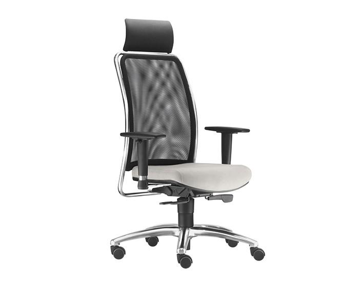 Cadeira para Escritório Presidente Giratória SOU587 - Mecanismo Syncron - Base Alumínio Semiarcada - Encosto em tela -  Com Braço - Com Apoio de Cabeça - Linha SOUL - Frisokar