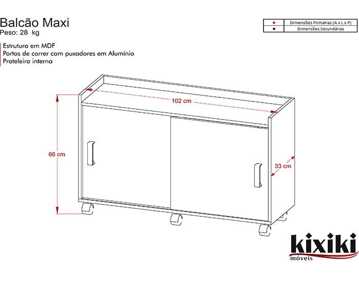 Balcão Maxi - Porta de Correr - Kixiki Móveis -