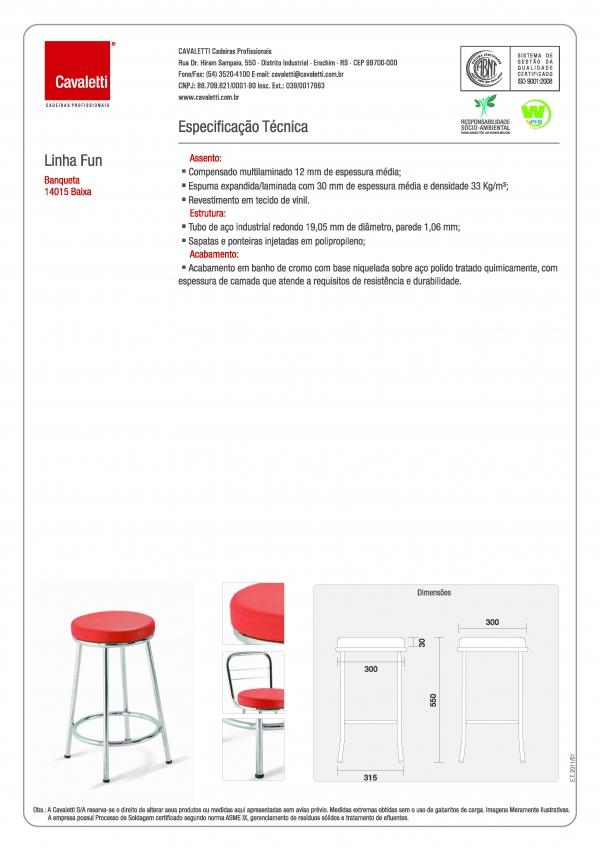 Banqueta / Banco - sem encosto 14015 - 500mm Altura Baixo - Linha Fun - Cavaletti -