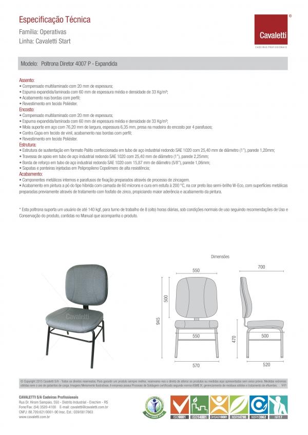 Cadeira para escritório fixa aproximação 4007 P Extra - Linha Start - Capacidade 140kg - Cavaletti -