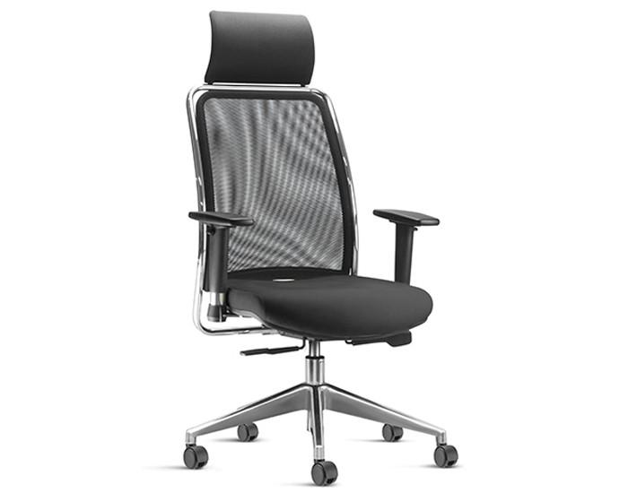 Cadeira para Escritório Presidente Giratória SOU588 - Mecanismo Sincron - Base Piramidal em Alumínio - Com Apoio de Cabeça - Encosto em tela -  Com Braço - Linha SOUL - Frisokar