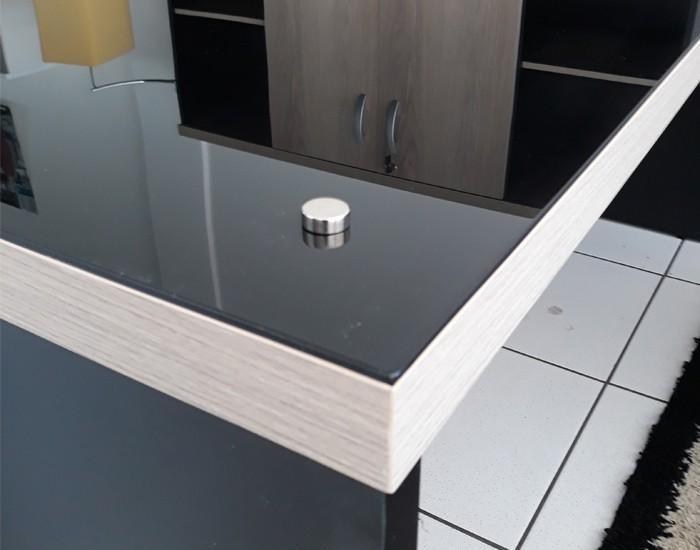 Mesa Reta Pedestal - Tampo em Vidro 4mm - Com Gavetas - MDP 40mm - 1700mm x 700mm x 750mm -