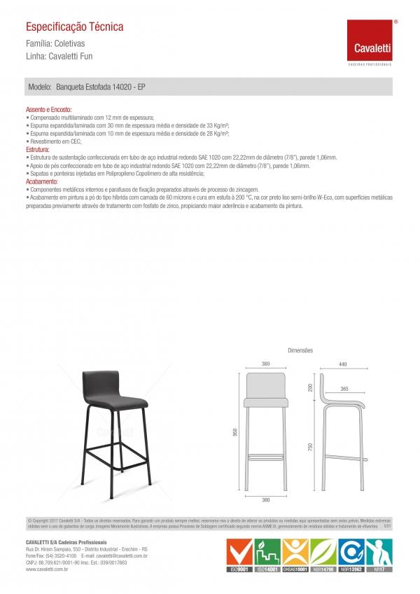Banqueta / Banco -  com encosto 14020 - Estrutura preta - Cavaletti -