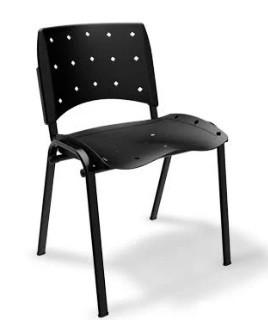 Cadeira Empilhável Plástica - Ergoplax - Estrutura Preta - Assento e Encosto Preto