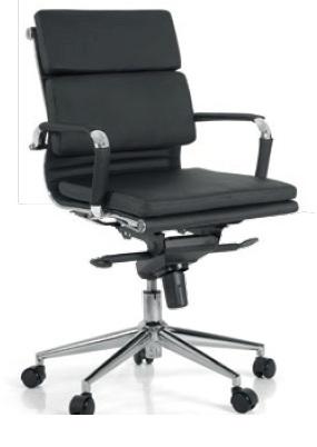 Cadeira para escritório giratória Diretor BLUME 08 - Mecanismo SYNCRON - Braço fixo - Base Cromada