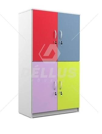Armário Escolar 4 Portas - MDF - Com chave -  Colorido