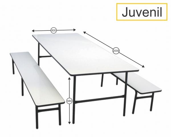 Mesa para refeitório com banco juvenil - 2000 x 800 x 680 mm - Dellus -