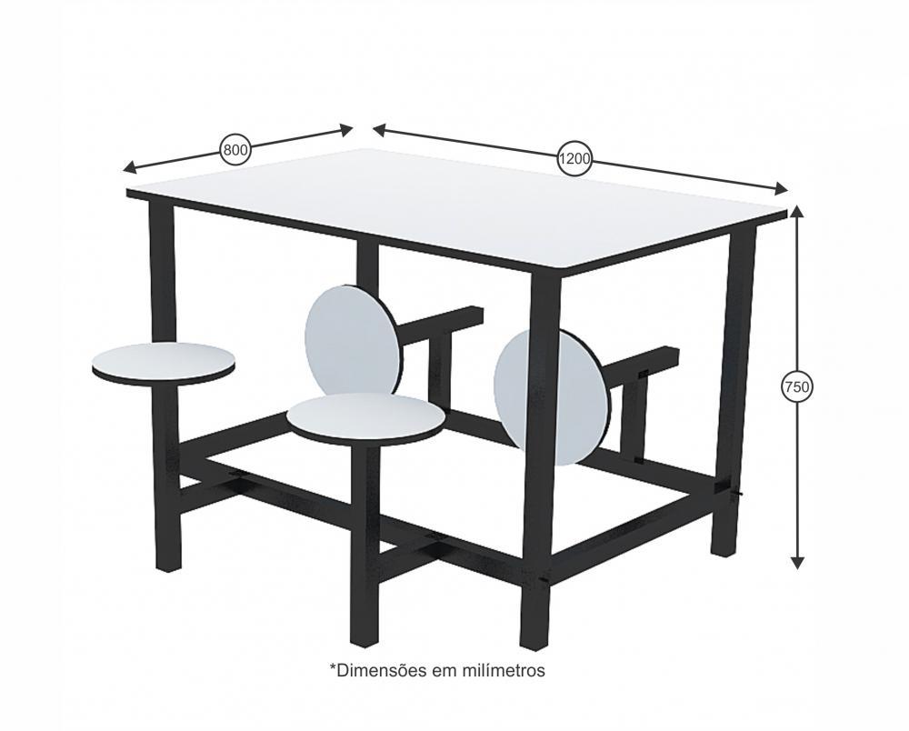 Mesa para refeitório com banco escamoteável adulto 4 lug. MDF 18mm - Dellus -