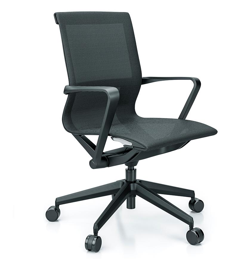 Cadeira para escritório giratória 44102 Auto Regulável - Linha Aura - Braço - Estrutura Preta - Cavaletti - Base Preta Nylon