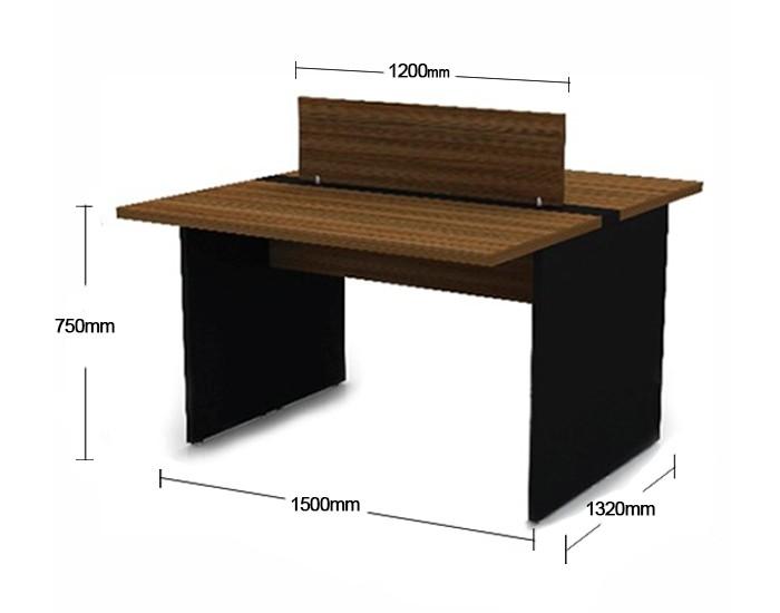 Plataforma de Trabalho com Total de 2 Lugares. 1 Lugar + 1 Lugar Frente a Frente - 1500mm X 1320mm X 750mm - 25mm