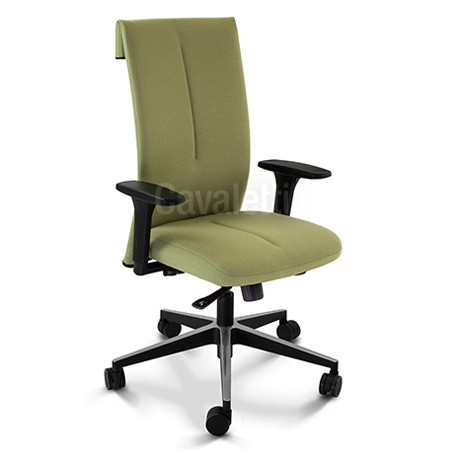 Cadeira para escritório giratória presidente 45101 - BRAÇO 3D - SYNCRON - Regulagem de Profundidade no Assento - Linha Leef - Cavaletti - Base Twin em Alumínio