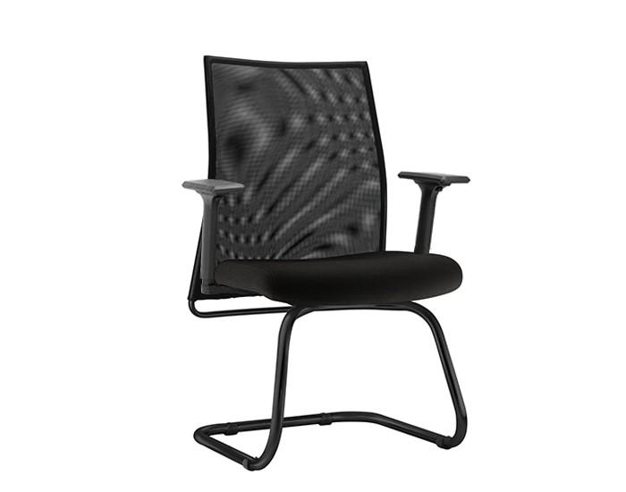 Cadeira Fixa LISFX106 - Base SKL Preta - Encosto em Tela - Linha LISS - Com Braço - Frisokar
