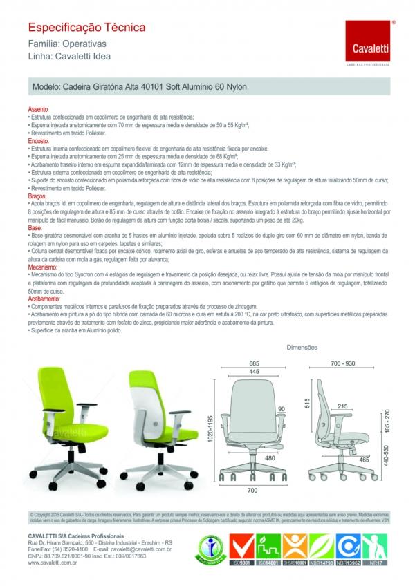 Cadeira para escritório giratória presidente 40101 - Braço ID - Linha Idea - SYNCRON -  Cavaletti - Base de Alumínio -