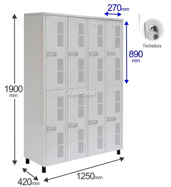 Roupeiro Para Vestiário RGRSP 8 Portas - Com FECHADURA - RCH