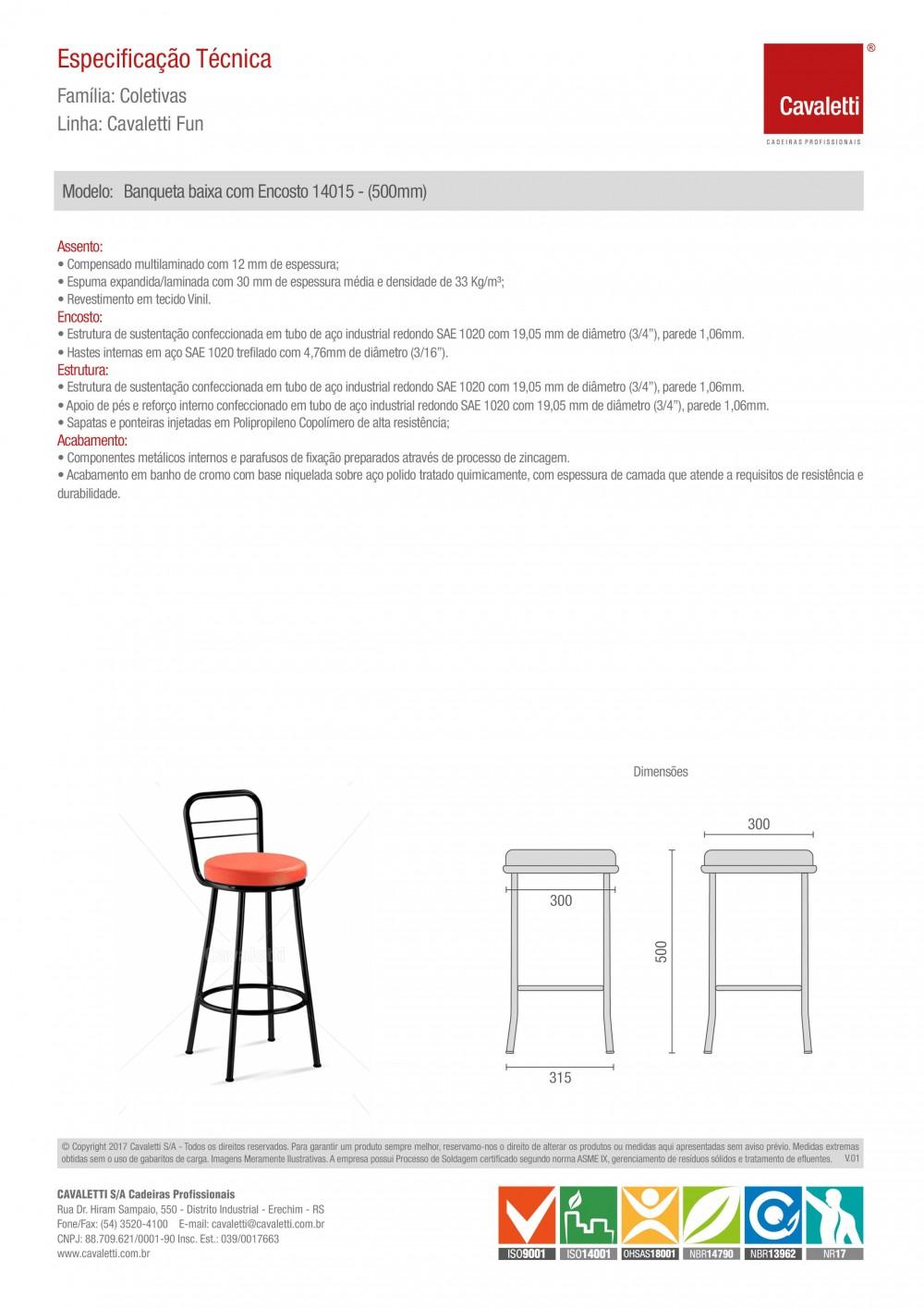 Banqueta / Banco - com encosto 14015 - 500mm Altura - Baixo - ESTRUTURA PRETA - Linha Fun - Cavaletti -